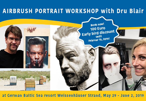 Airbrush Step by Step Holidays 2019: Airbrush Portrait Workshop with Dru Blair at the Baltic Sea