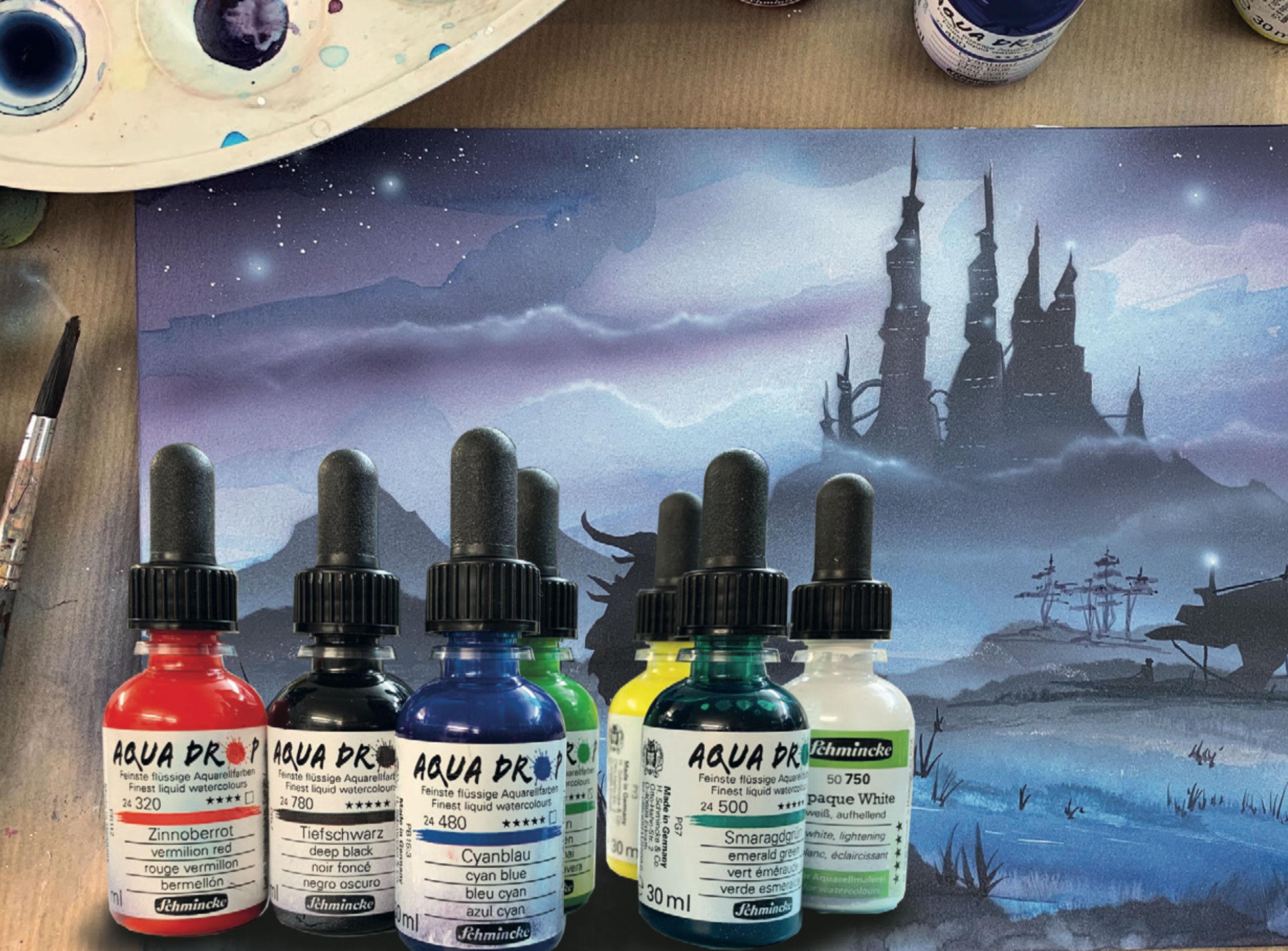 Schmincke Aqua Drop: Fluid watercolors for high-value airbrush illustrations