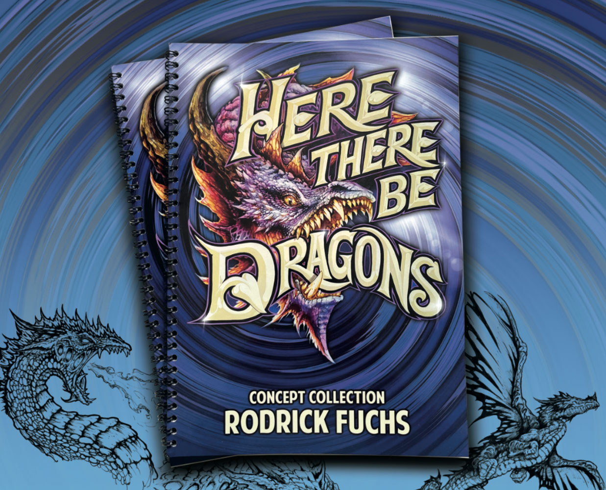 Here There Be Dragons: Concept Art by Rodrick Fuchs as a coffee table book and reference collection